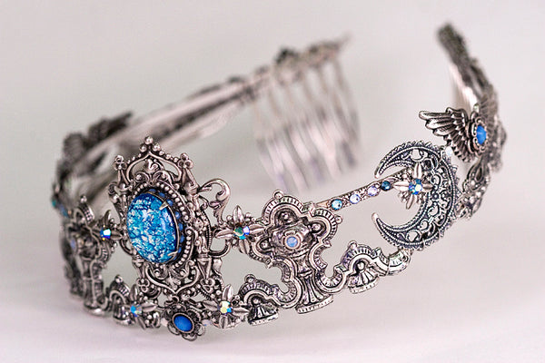 Custom Blue Star Tiara, inspired by Art Nouveau & works of Mucha -- designed by dosha of Rabbitwood & Reason.