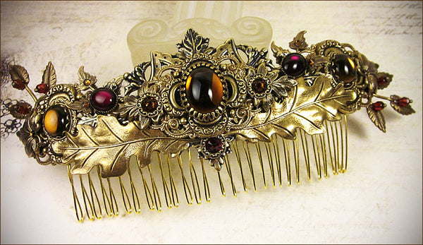 Custom Autumn Bridal Comb -- by dosha of Rabbitwood & Reason.