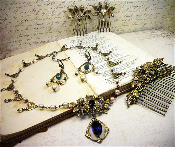 Custom Ash Leaf Renaissance Bridal Set -- view 6 -- by dosha of Rabbitwood & Reason.