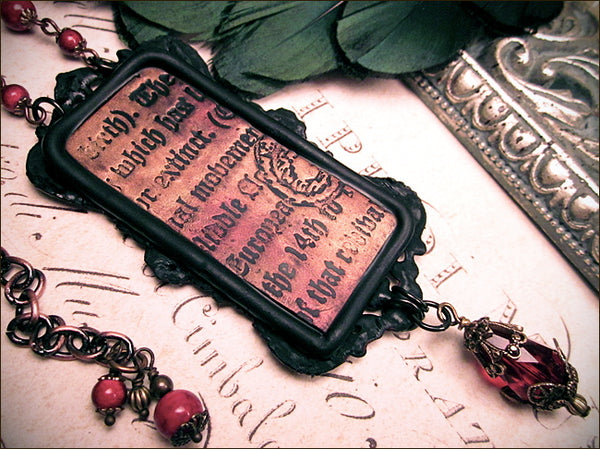 Custom Destiny clay portrait necklace inspired by work of John William Waterhouse -- back of piece shown -- designed by dosha of Rabbitwood & Reason.