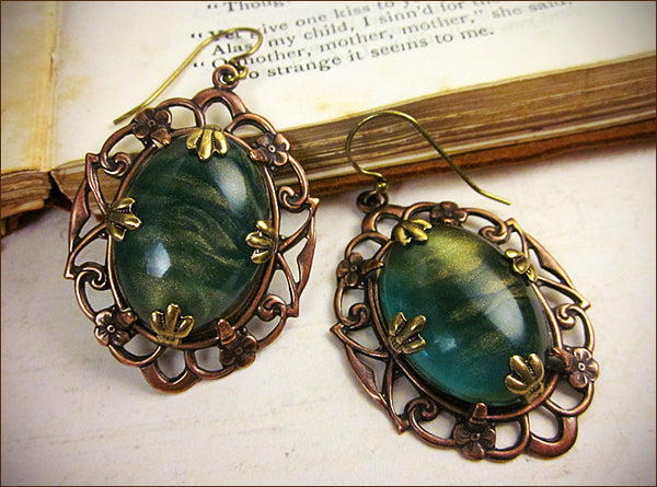 Drucilla Earrings with Client's Choice of Vintage Stones -- design by dosha of Rabbitwood & Reason.