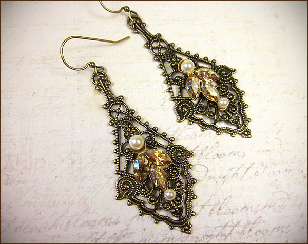 Custom Elizabethan Bridal Earrings to match Elizabethan Tiara and Necklace -- designed by dosha of Rabbitwood & Reason.