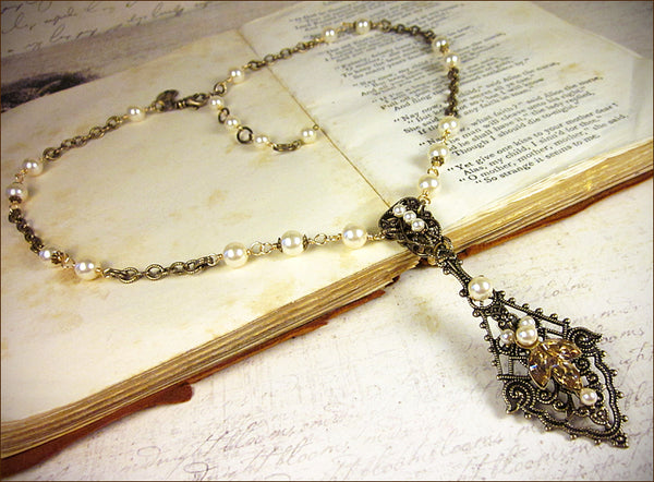 Custom Elizabethan Bridal Necklace to match Elizabethan Tiara -- designed by dosha of Rabbitwood & Reason.