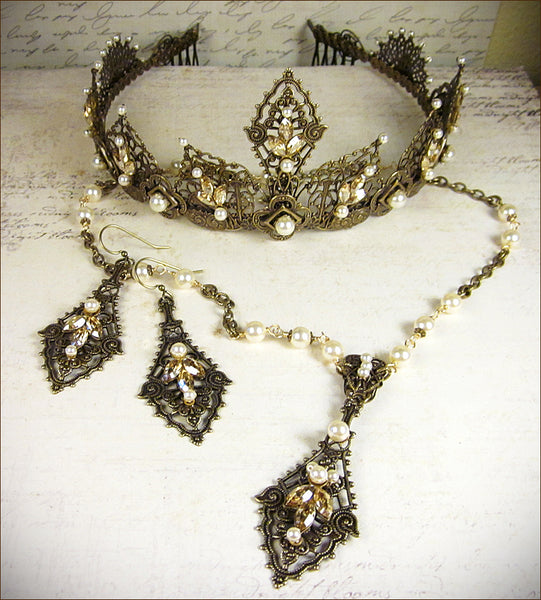 Elizabethan Tiara in antiqued brass with golden swarovski crysatls and swarovski cream pearls; pictured with matching bridal necklace and earring set -- designed by dosha at Rabbitwood & Reason.