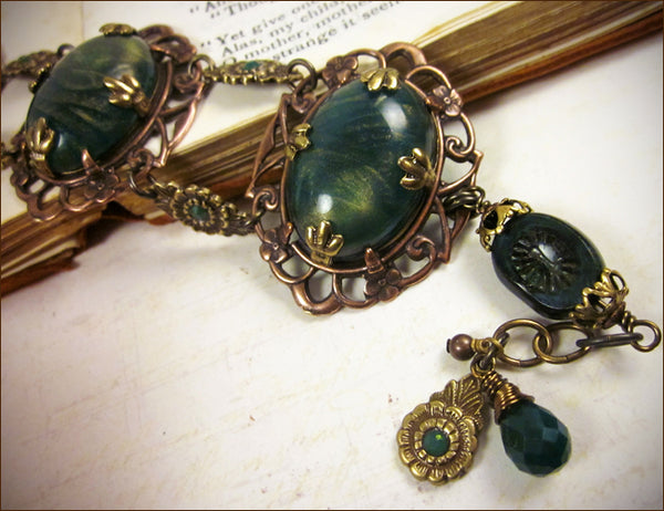 Custom bracelet to match Drucilla Necklace in client's choice of vintage stone -- designed by dosha of Rabbitwood & Reason.