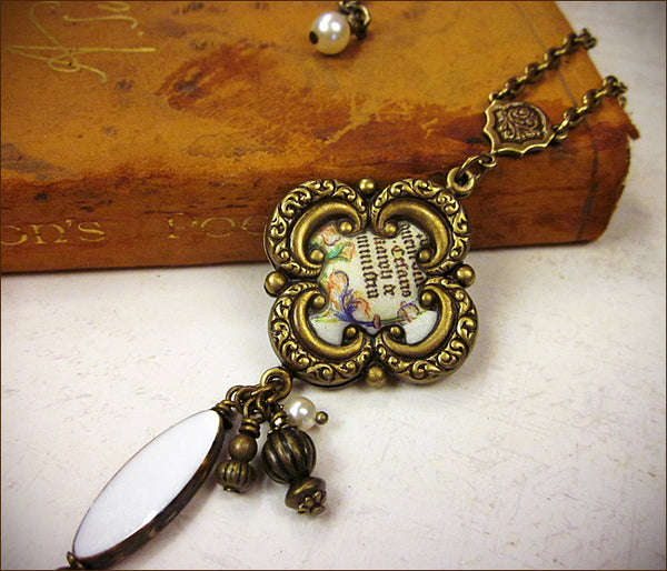 Customized Medieval Manuscript Pendant Necklace with client's choice of stones -- design by dosha of Rabbitwood & Reason.