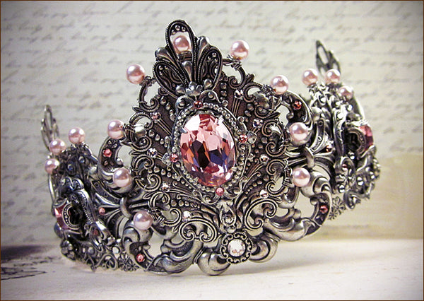 Custom Pale Pink Bridal Tiara -- designed by dosha of Rabbitwood & Reason.