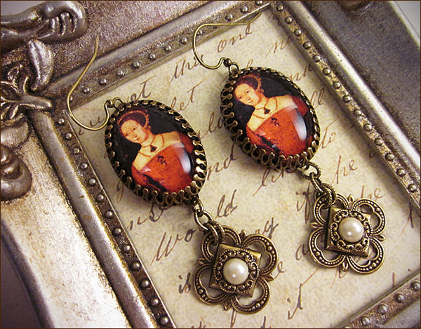 Custom Mary Tudor Earrings -- designed by dosha of Rabbitwood & Reason.
