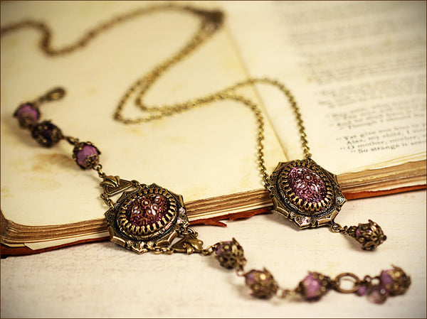 Medieval Pendant Necklace & Custom Medieval Bracelet with vintage centerpiece stones -- designed by dosha of Rabbitwood & Reason.
