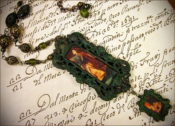 Custom Morgan le Fay clay portrait necklace, inspired by work of Fredrick Sandys -- design by dosha of Rabbitwood & Reason.