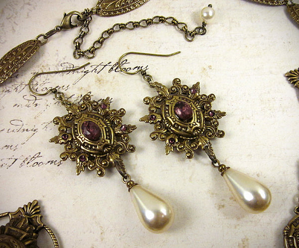 Custom Queen Margot Necklace & Earring Set -- view 2 -- by dosha of Rabbitwood & Reason.