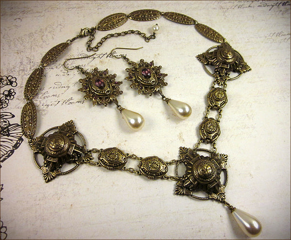 Custom Queen Margot Necklace & Earring Set -- by dosha of Rabbitwood & Reason.