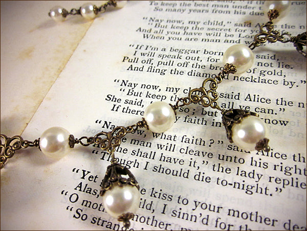 Renaissance Inspired Cream Pearl Necklace - designed by dosha of Rabbitwood & Reason.