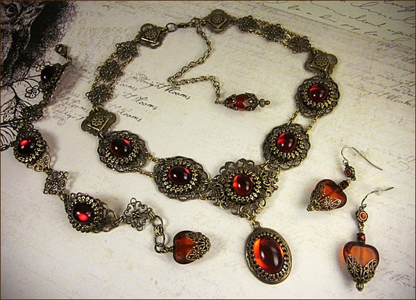 Custom Bracelet and earrings to match Rabbitwood & Reason Lucia Necklace -- Heart Theme -- designed by dosha of Rabbitwood & Reason.