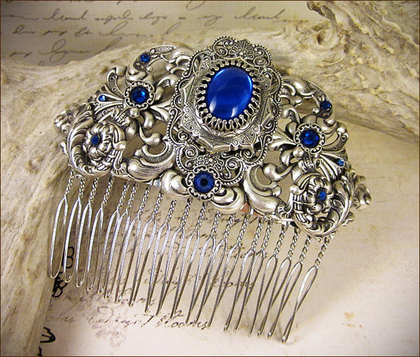 Custom Sapphire Renaissance Comb -- by dosha of Rabbitwood & Reason.