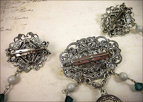 Custom Tudor Bodice Jewelry Brooch -- view of back -- by dosha of Rabbitwood & Reason.