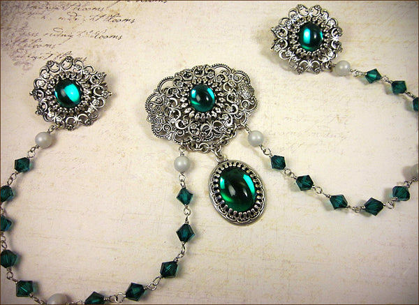 Custom Tudor Bodice Jewelry Brooch -- by dosha of Rabbitwood & Reason.