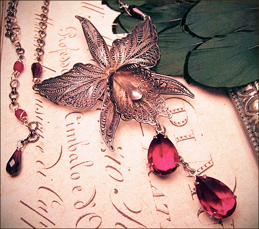 Custom Orchid Bridal Necklace & Earring Set from Vintage Components -- designed by dosha of Rabbitwood & Reason.