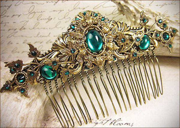 Custom Woodland Bridal Comb in Emerald -- by dosha of Rabbitwood & Reason.