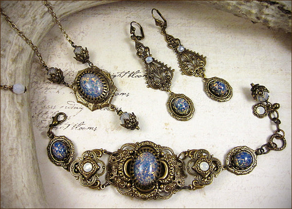 Customized Blue Opal Art Glass Necklace, Bracelet & Earring Set -- by dosha of Rabbitwood & Reason.