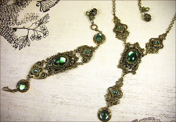 Custom Gothic Cathedral Necklace & Bracelet Set with tourmaline green stones -- by dosha of Rabbitwood & Reason.