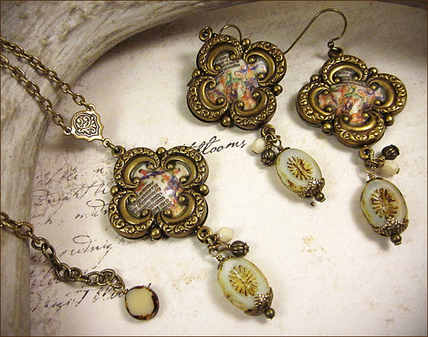 Customized Illuminated Manuscript Pendant Necklace & Earring Set -- by dosha of Rabbitwood & Reason.