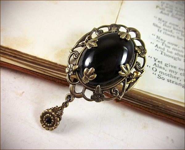 Drucilla Brooch in Black with crystal drop, to wear with client's Tudor Wardrobe -- designed by dosha of Rabbitwood & Reason.