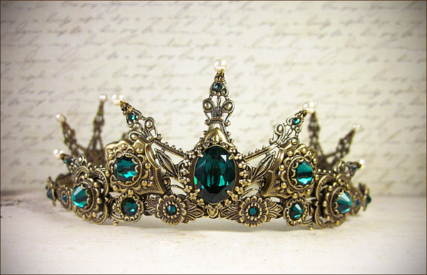 Avalon Tiara in antiqued brass finish with swarovski emerald crystals and swarovski cream pearl accents -- view 1 -- designed by dosha of Rabbitwood and Reason.