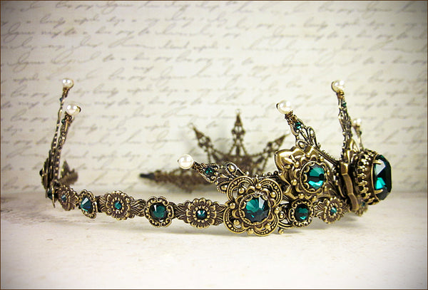 Avalon Tiara in antiqued brass finish with swarovski emerald crystals and swarovski cream pearl accents -- view 3 -- designed by dosha of Rabbitwood and Reason.