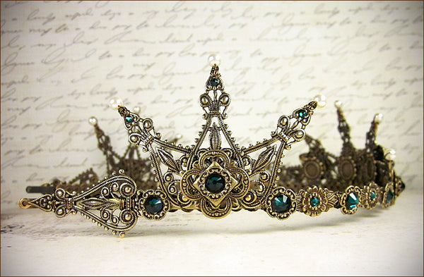Avalon Tiara in antiqued brass finish with swarovski emerald crystals and swarovski cream pearl accents -- view 4 -- designed by dosha of Rabbitwood and Reason.
