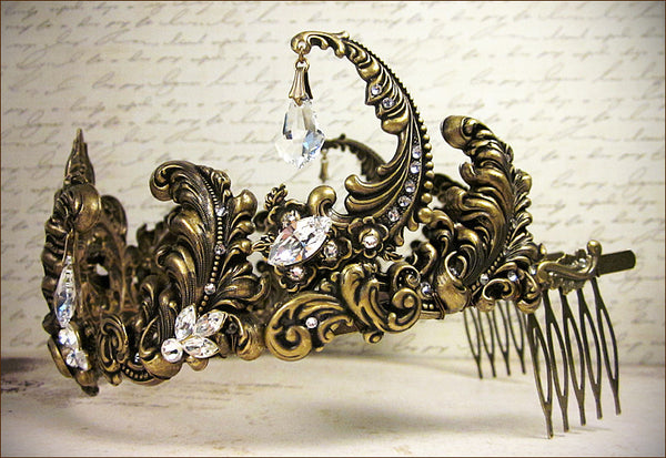 Custom Fleur Scroll Tiara -- view 3 -- by dosha of Rabbitwood & Reason.