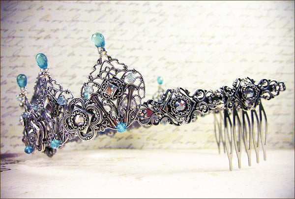Custom Silver Tiara with semi-precious stone for Royal Ball in India -- view 3 -- design by dosha of Rabbitwood & Reason.