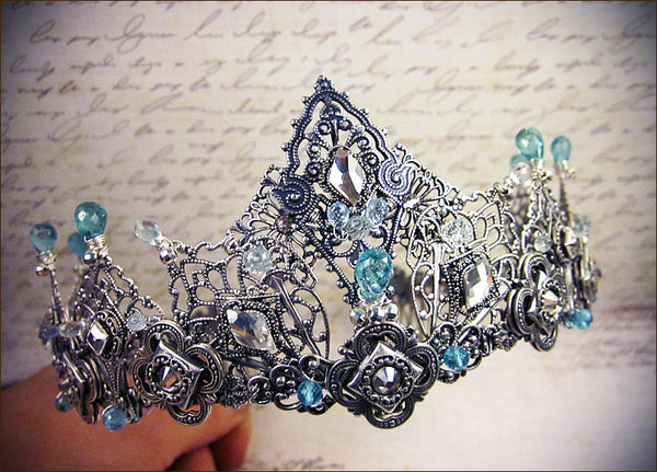 Custom Silver Tiara with semi-precious stone for Royal Ball in India -- design by dosha of Rabbitwood & Reason.