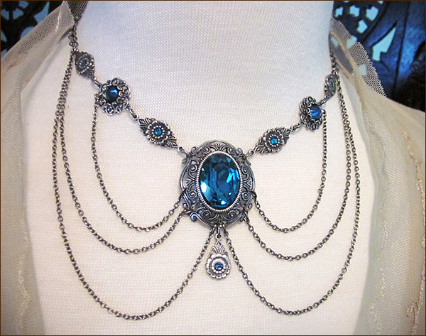 Customized Drucilla Necklace in an antiqued silver finish, with Swarovski Indicolite stones and custom settings -- designed by dosha of Rabbitwood & Reason.
