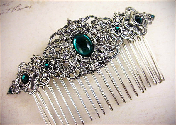 Custom Emerald Bridal Comb to match Avalon Earrings -- designed by dosha of Rabbitwood & Reason.