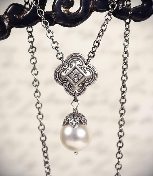Aquitaine Pearl Pendant Necklace in White Pearl - Antiqued Silver - by dosha of Rabbitwood & Reason