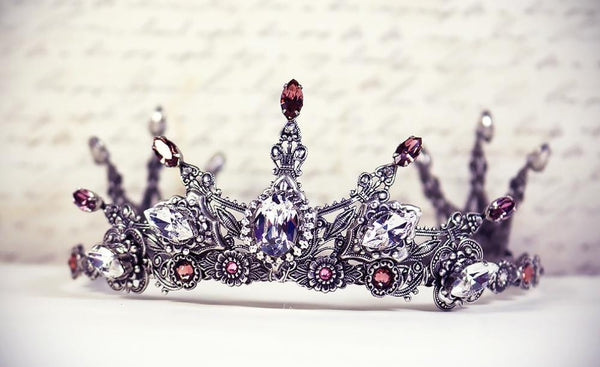 Avalon Tiara - Centerpiece: Crystal; Pointed Navettes: Antique Pink; Accent Stones: Blush Rose - Antiqued Silver by dosha of Rabbitwood & Reason
