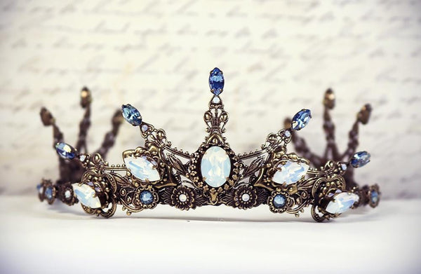 Avalon Tiara - Centerpiece: White Opal; Pointed Navettes: Light Sapphire Champagne; Accent Stones: White Opal - Antiqued Brass by dosha of Rabbitwood & Reason
