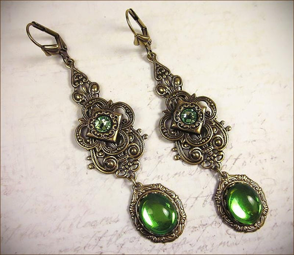 Avalon Earrings in Peridot - Antiqued Brass by dosha of Rabbitwood & Reason