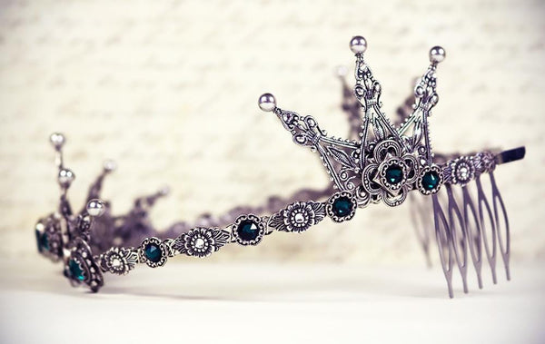 Avalon Tiara - Pearl Color: Light Grey - Centerpiece Stone: Emerald - Accent Crystals: Crystal; Emerald - Antiqued Silver - by dosha of Rabbitwood & Reason