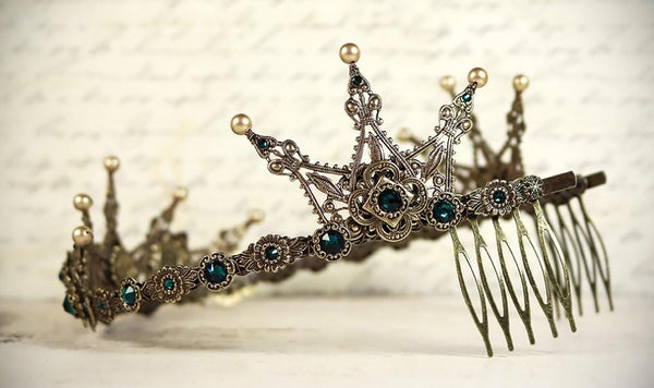 Avalon Tiara - Pearl Color: Vintage Gold - Centerpiece Stone: Emerald - Accent Crystals: Emerald - Antiqued Brass - by dosha of Rabbitwood & Reason