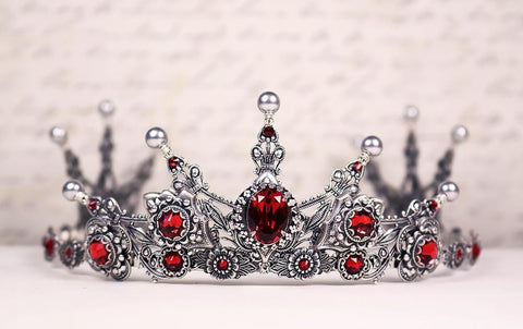 Avalon Tiara - Pearl Color: Light Grey - Centerpiece Stone: Scarlet - Accent Crystals: Scarlet - Antiqued Silver - by dosha of Rabbitwood & Reason