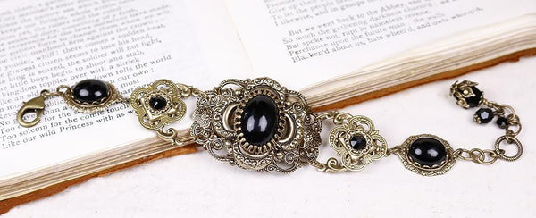 Canterbury Bracelet - Black - Antiqued Brass - Rabbitwood & Reason