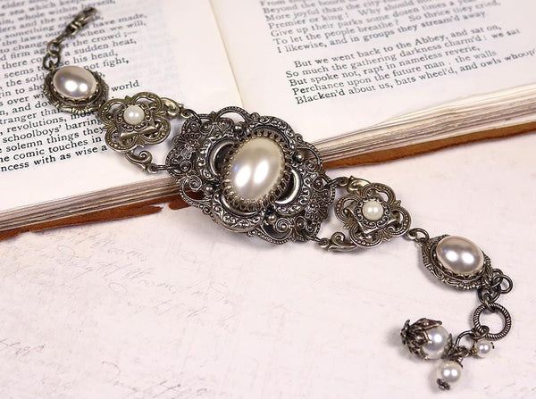 Canterbury Bracelet - Cream Pearl - Antiqued Brass - Rabbitwood & Reason