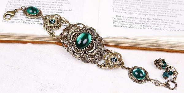 Canterbury Bracelet - Emerald - Antiqued Brass - Rabbitwood & Reason