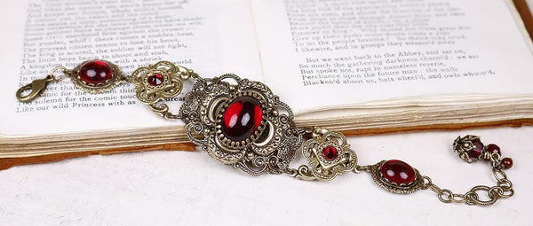 Canterbury Bracelet - Garnet - Antiqued Brass - Rabbitwood & Reason