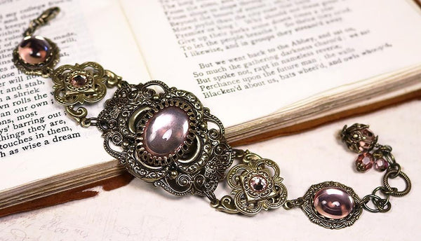 Canterbury Bracelet - Pale Rosebud - Antiqued Brass - Rabbitwood & Reason