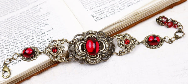 Canterbury Bracelet - Ruby - Antiqued Brass - Rabbitwood & Reason