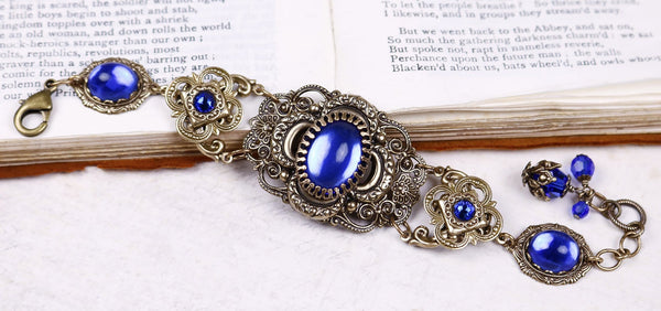 Canterbury Bracelet - Sapphire - Antiqued Brass - Rabbitwood & Reason