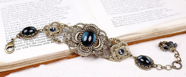 Canterbury Bracelet - Twilight Blue - Antiqued Brass - Rabbitwood & Reason